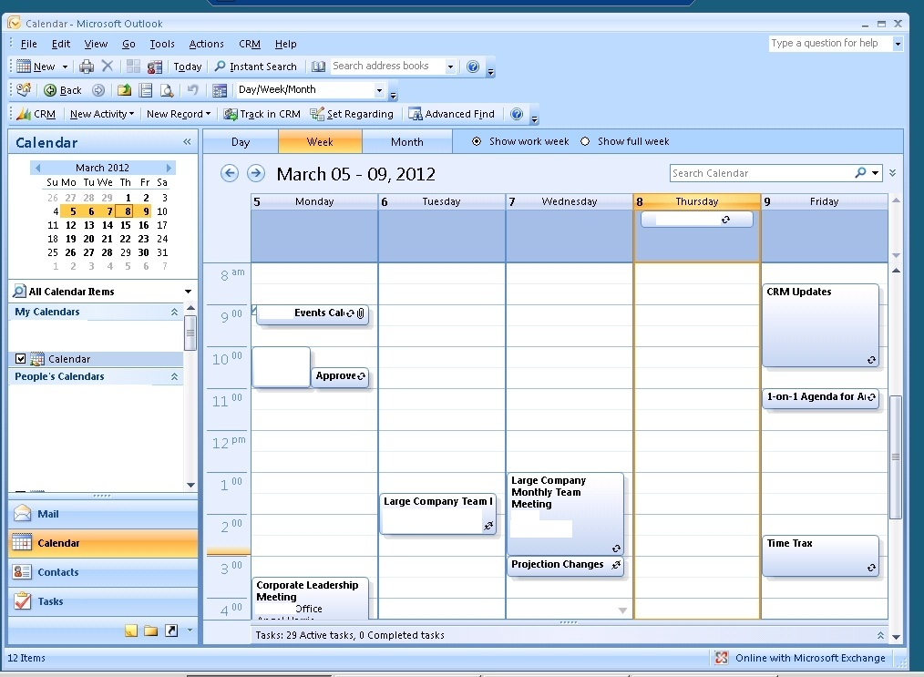 on click initial personal calendar does not display all meetings