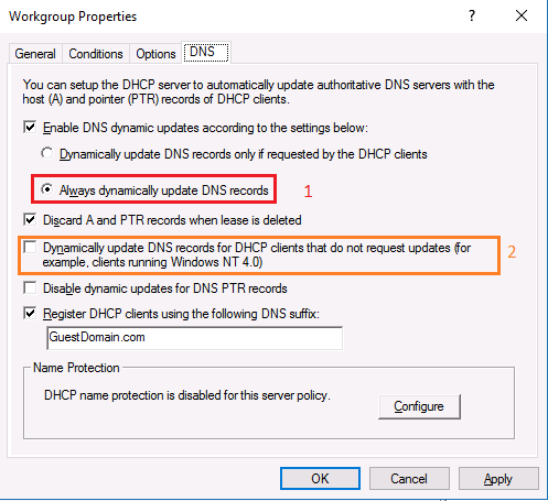 Windows clients not updating dns records