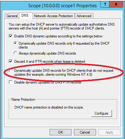 xp clients not updating dns