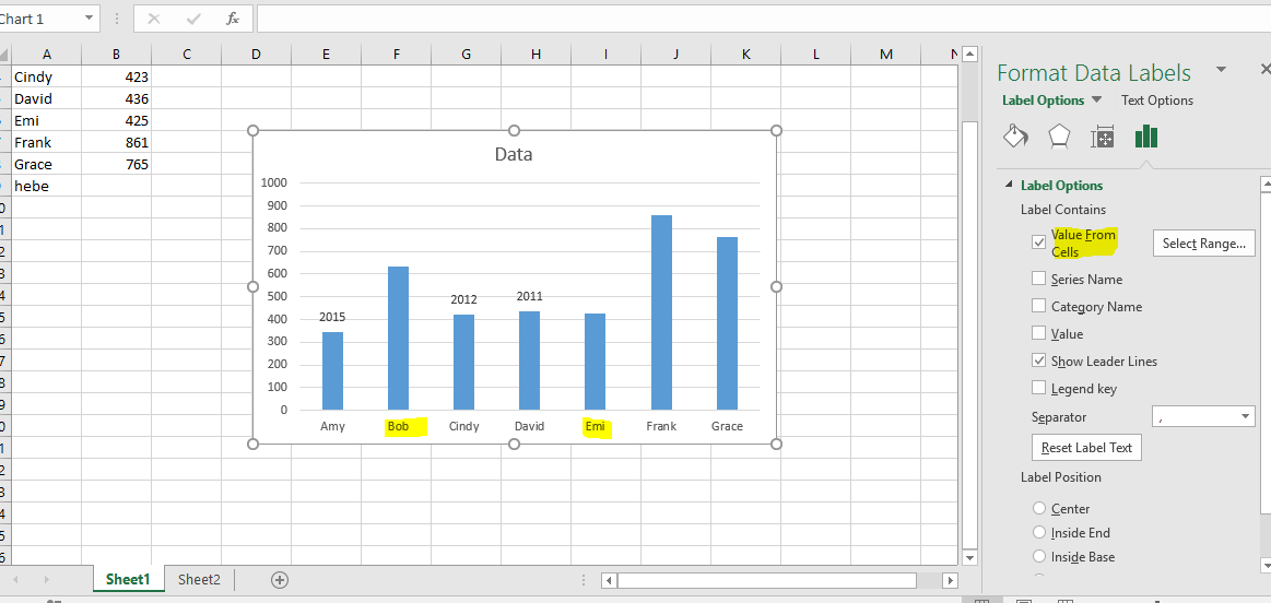 Excel data labels value from cells saved and reopen this excel file i fill in the empty cells and the value can be updated in data label automatically ccuart Choice Image