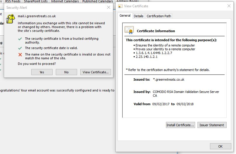 Wildcard Certificate Error When Trying To Connect With Outlook 2016