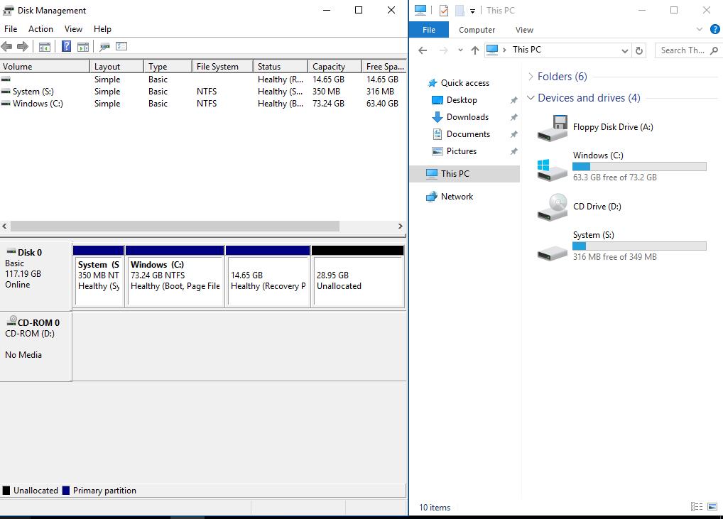 windows server 2016 autounattend xml default disk configuration