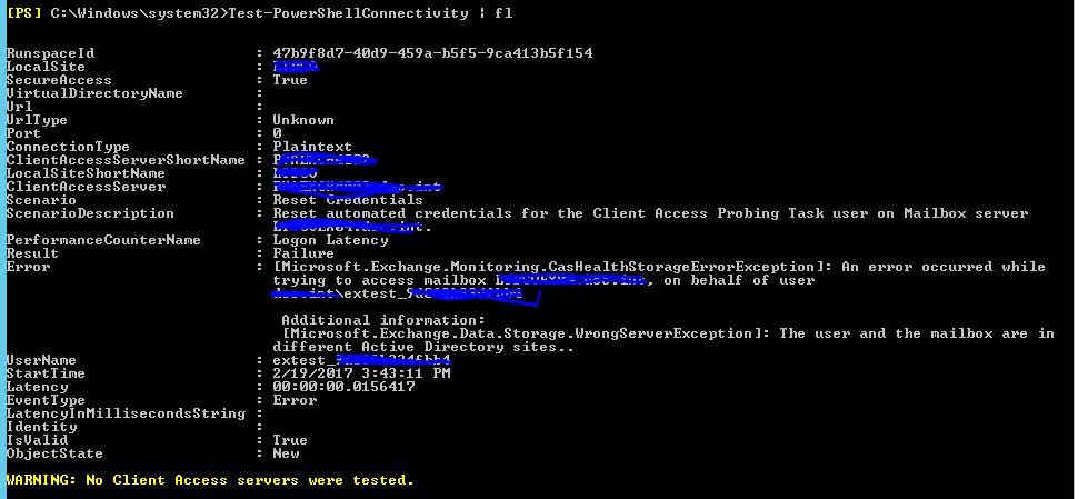 Test-PowerShellConnectivity fails with