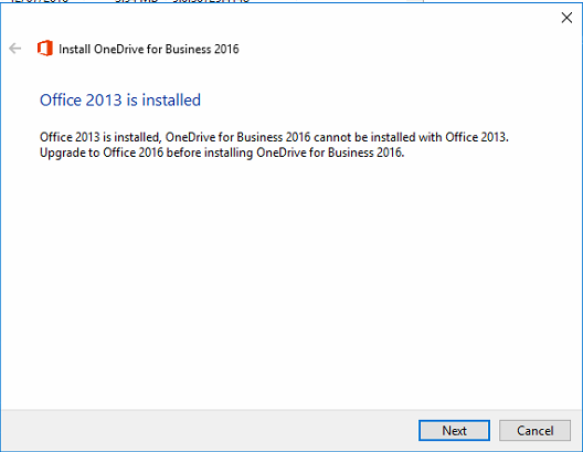 Install OneDrive for Business 2016 -