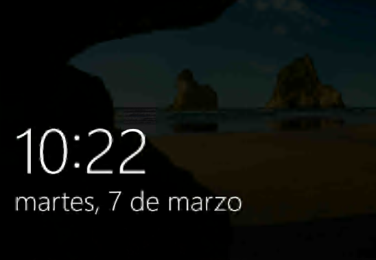 Lockscreen with time and date in Spanish