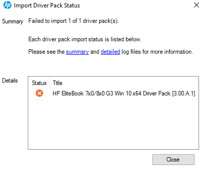 Importing HP drivers keeps failing SCCM 2012