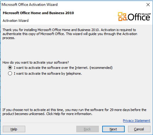 microsoft office product activation required 2010