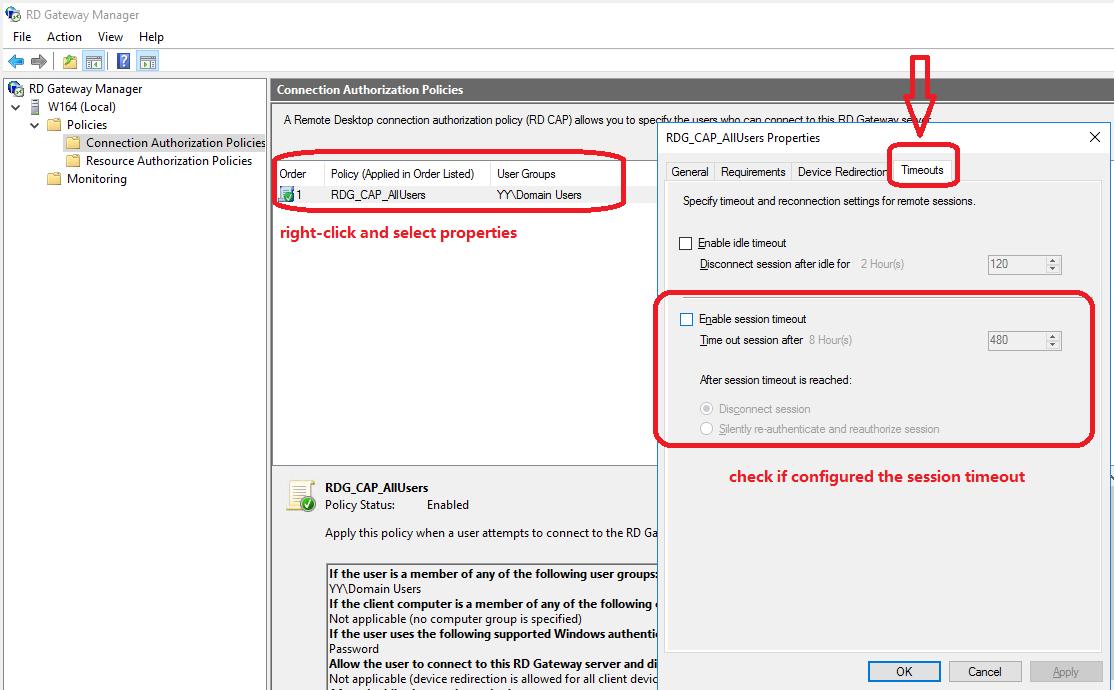 2012 R2 Remote Desktop Gateway server disconnecting users