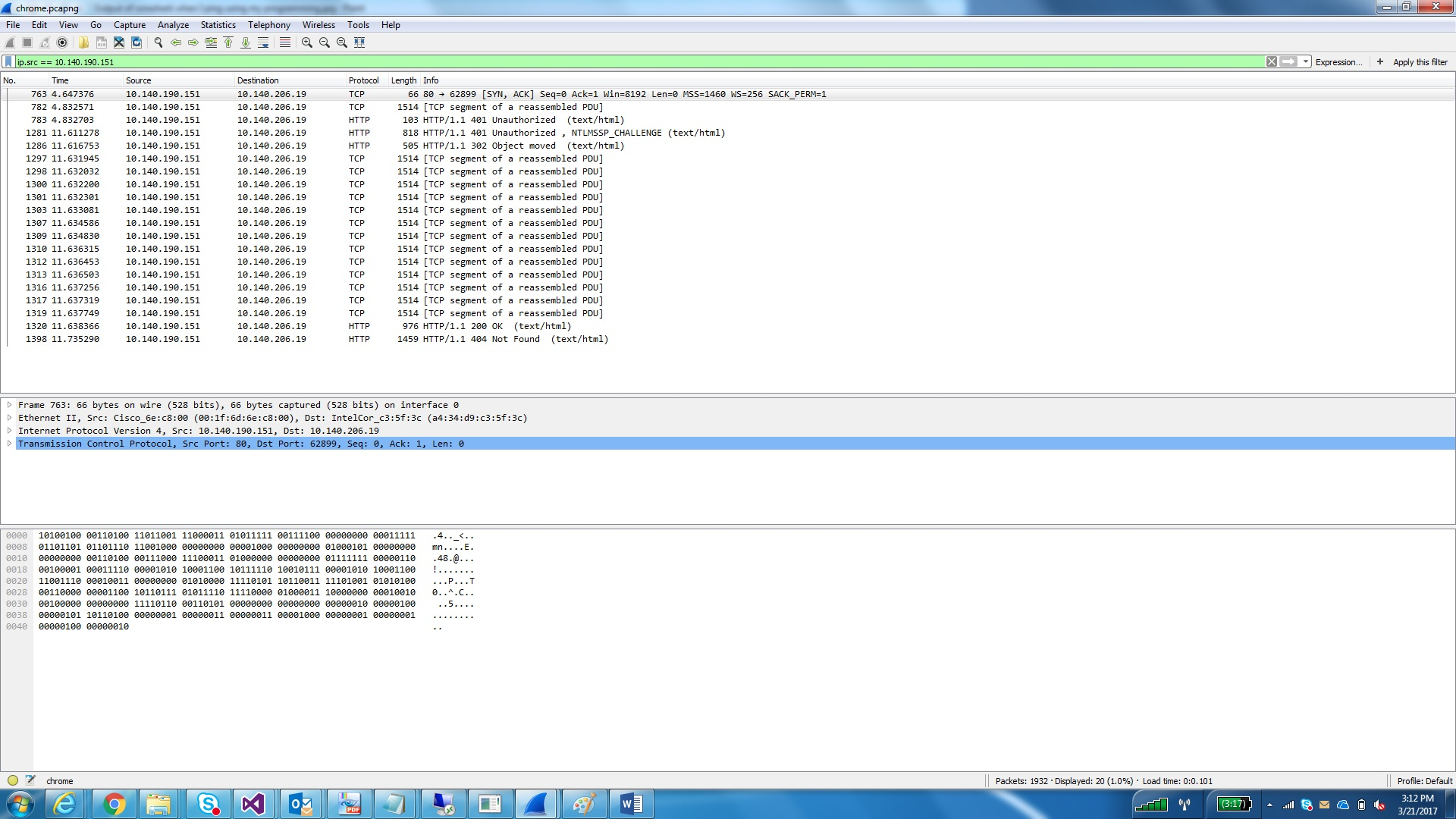 Output of wireshark when I ping using Internet Explorer