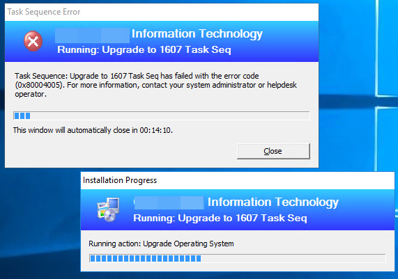Upgrade Win10 from 1511 to 1607 via Task Sequence