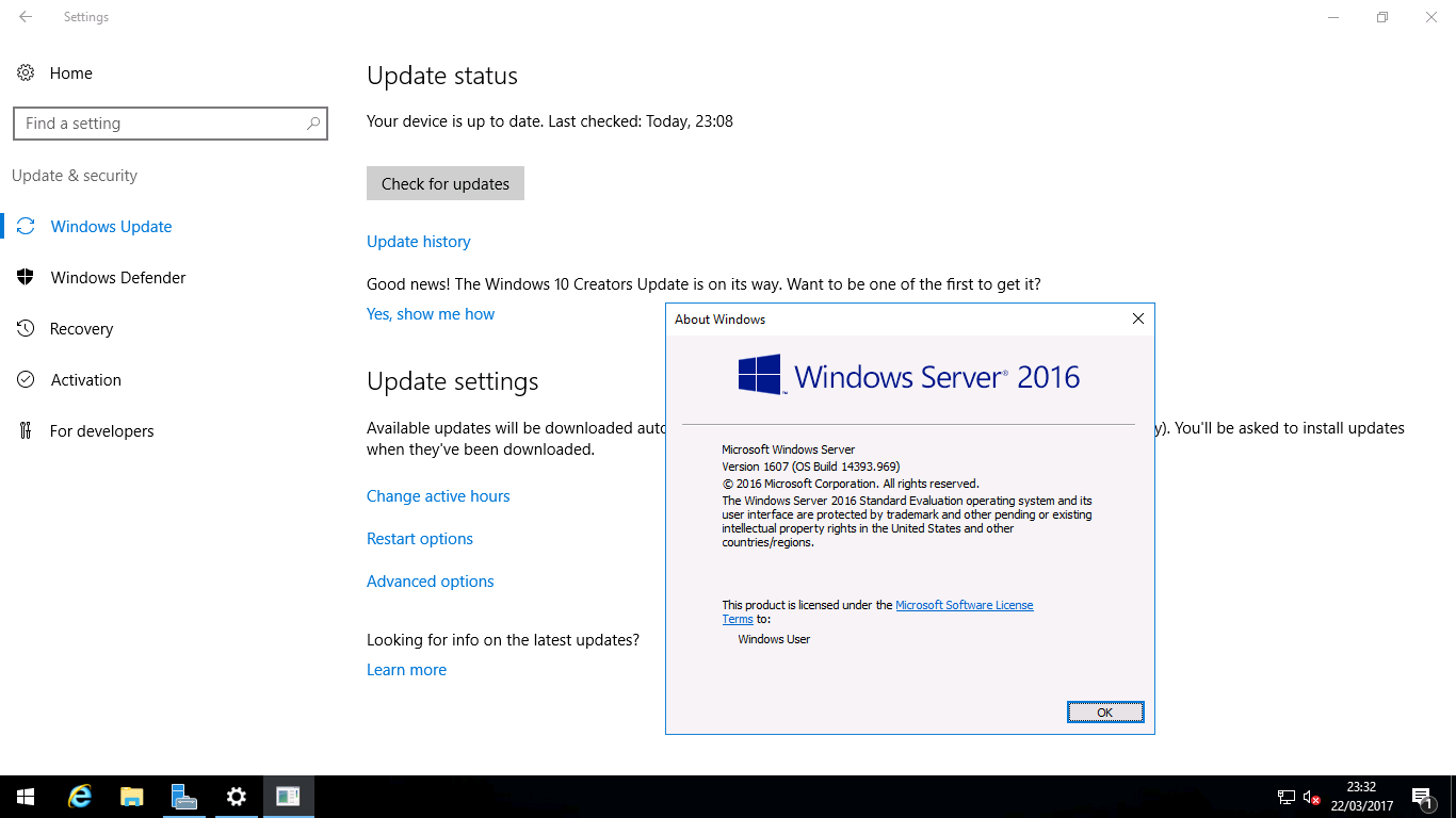 Windows Server 2016 Update - message about creators update?