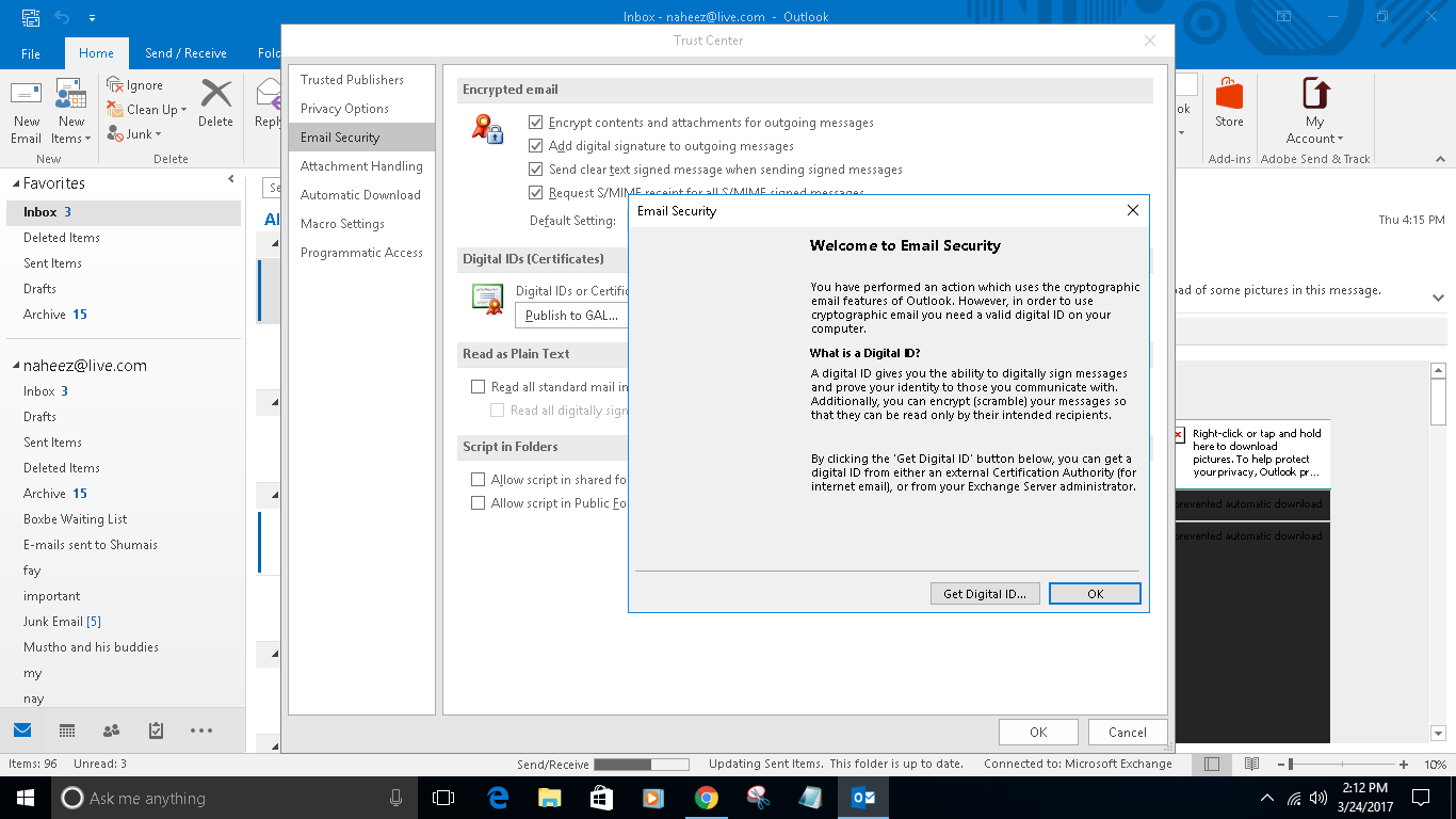 I cant use comodo digital certificate in e mail computer but outlook 2016 doesnt display certificate in trust center settings is a screen shoti am using genuine windows 10 pro x86 and xflitez Choice Image