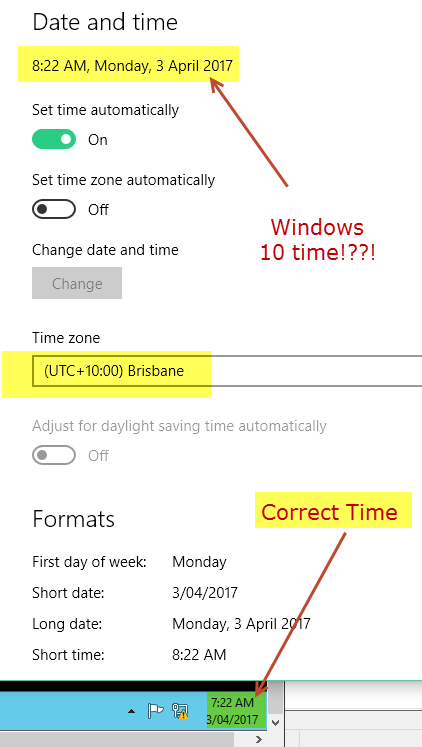 Time Zone For Brisbane Is Incorrect