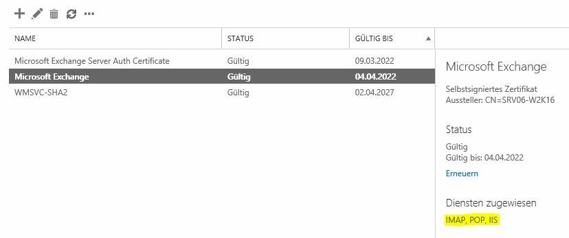 EX2016: Zertifikats-Bindung an SMTP scheitert bzw. ist nicht sichtbar