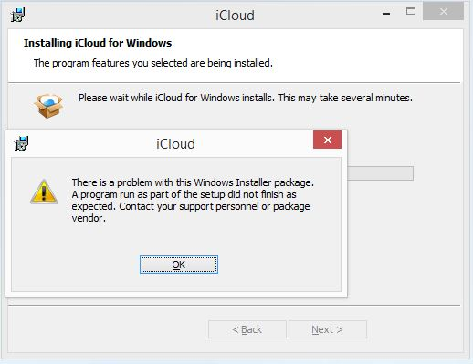 Error installing icloud for windows on windows 8