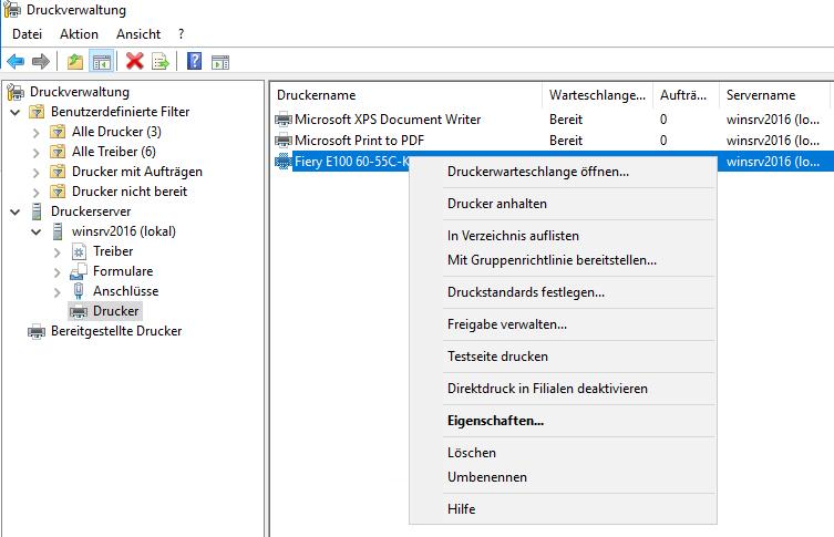 Windows Server 2016 Druckverwaltung
