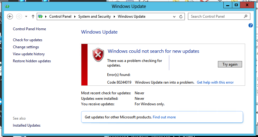 Stuck Checking for Updates -- Server 2012 Never completes