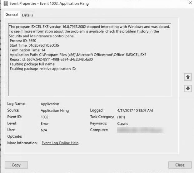 1041017 - Application Hang 1002 Windows 10