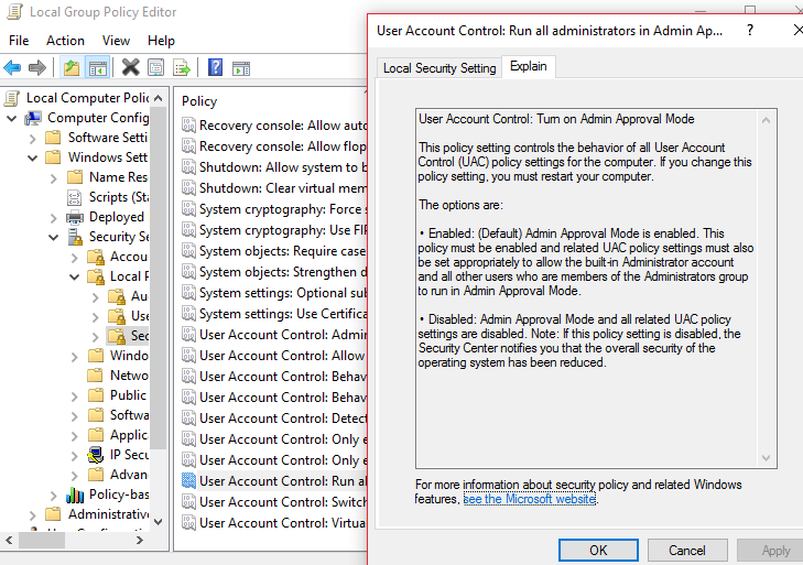 disable uac group policy windows 7