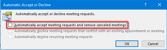 Outlook auto accepting meeting requests
