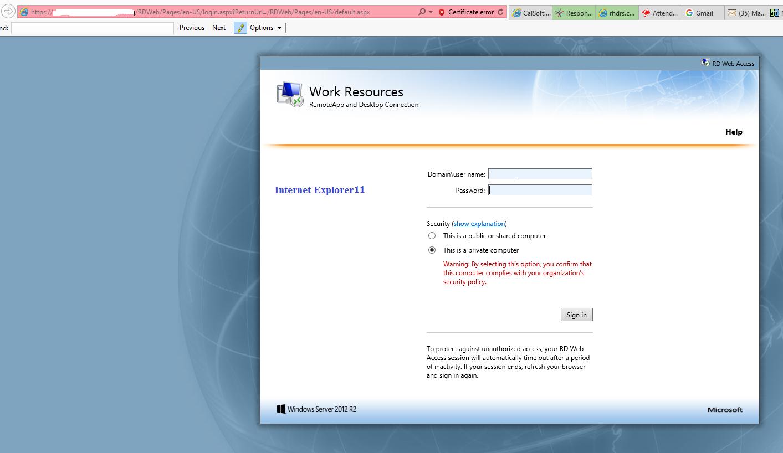 RD Web Access Password Change - Different behavior in