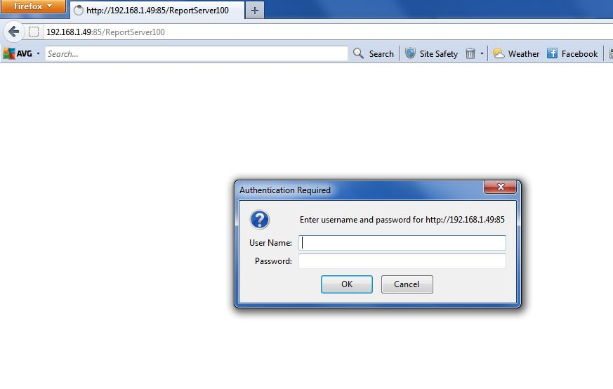 SSRS Report Manager URl prompt for credentials in Firefox