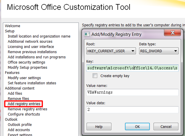 Using office customization tool for office 2010 to setup to change macro security - Office customization tool ...