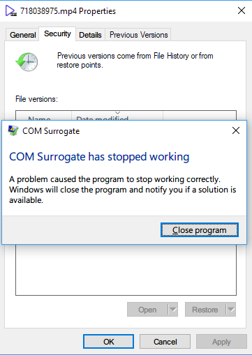COM Surrogate has stopped working