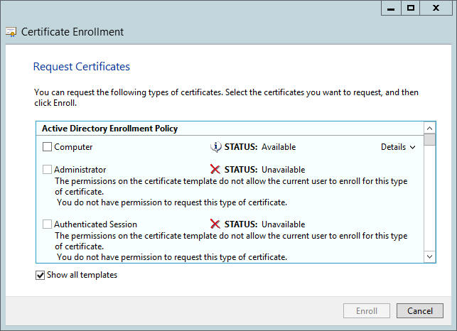 How to make accessible the webserver certificate in adcs available certificates from ca system yadclub Images