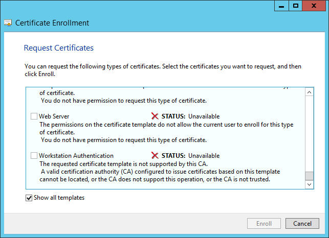 How to make accessible the webserver certificate in adcs how do i provide access to this web server certificate on the directaccess server system request yadclub Gallery