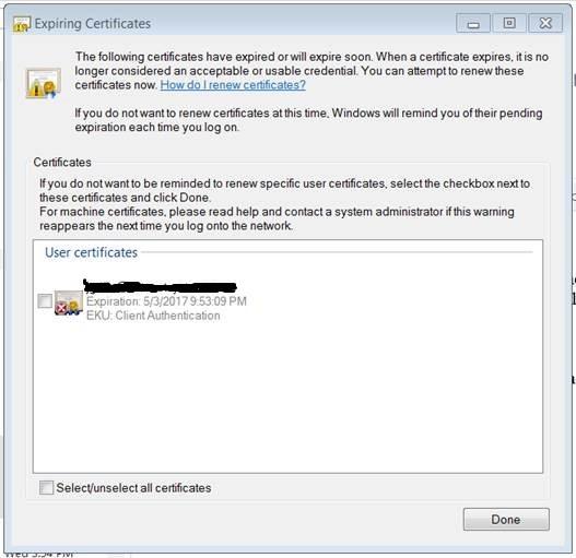 Expiring Certificates error