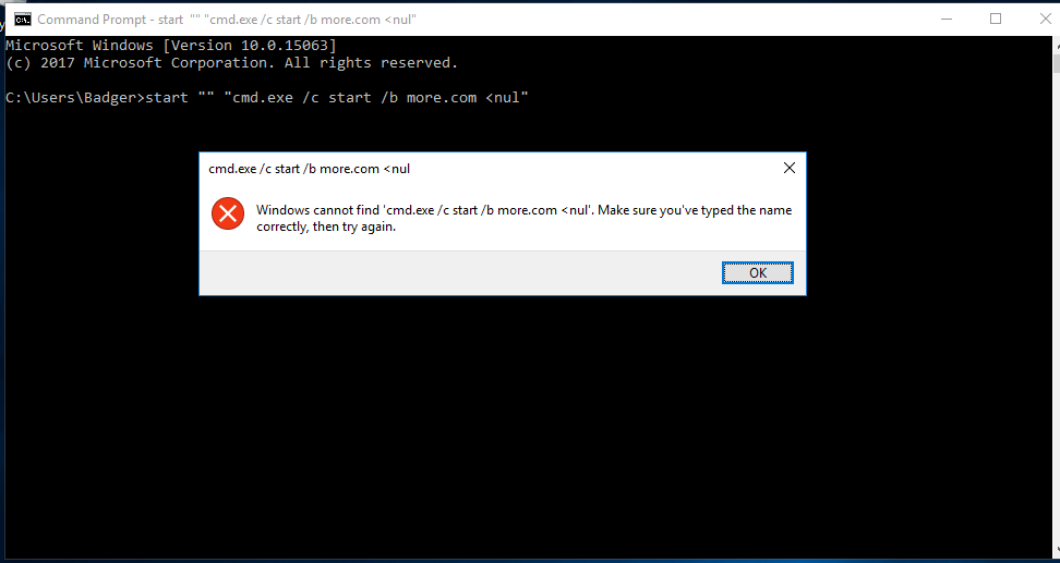 cmd /c start /b causes error 0xC0000142 on windows 10 1703