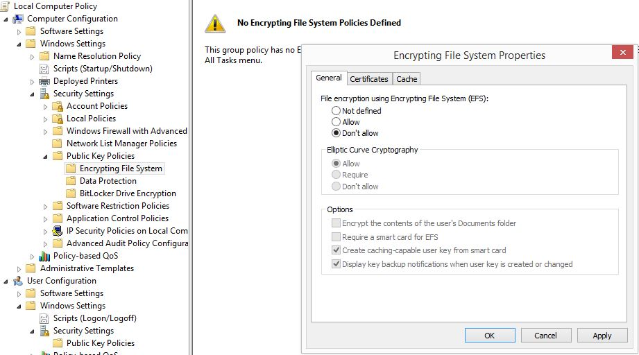 Remove EFS encryption from files that were inadvertantly