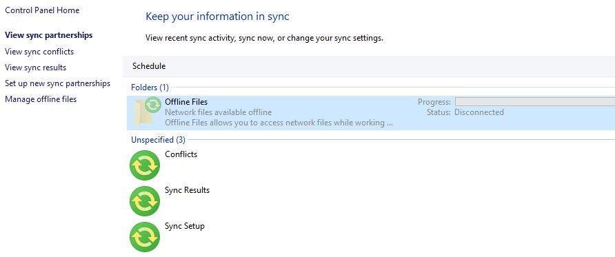 Windows 10 v1607 Offline Files Sync Schedule Error