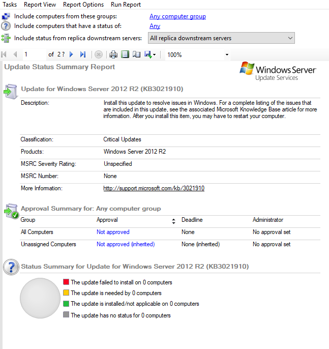 Client reports No updates are available when using WSUS, but