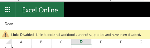 Connecting Excel workbooks, viewing in browser and