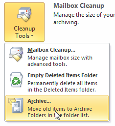 how to manually archive in outlook 2010