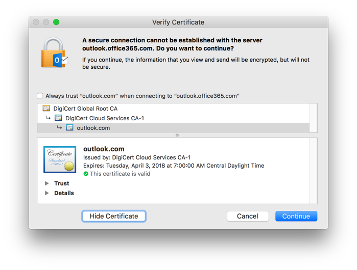 Mac Outlook 2016 - Secure Connection Cannot Be Established