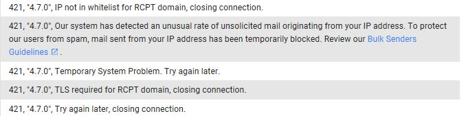 Exchange 2016 CU5 - Cannot Send emails to gmail.com error 421-4.7.0