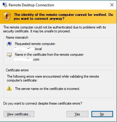 RDS on Server 2016 SSL Cert name mismatch error