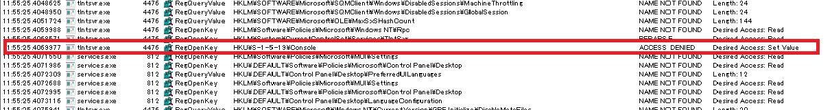 telnetサービスが エラー13 データーが無効です と表示され開始できない