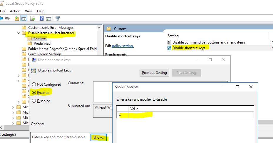 Disable Outlook 2013 keyboard shortcut
