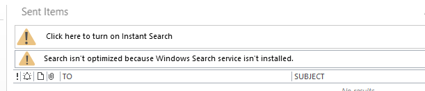 Outlook 2016 (Search isn't optimized because Windows Search