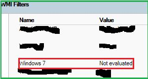 wmi filter not evaluated