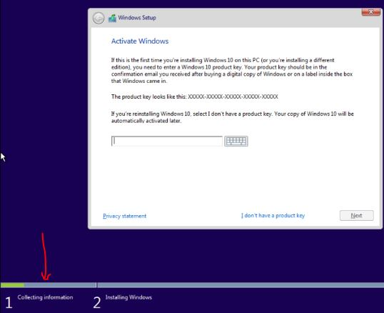 How to skip product key while installing windows 10