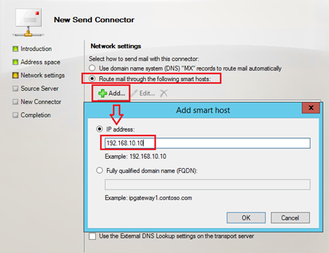 Send connector and address spaces