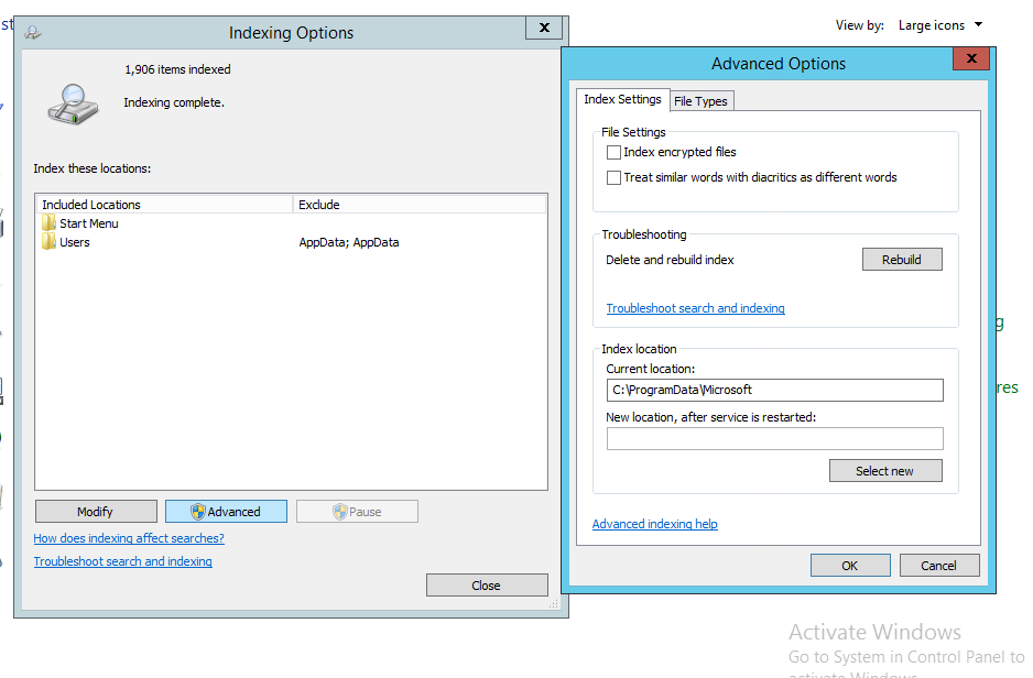 How to configure Indexing Service in Windows Server 2012