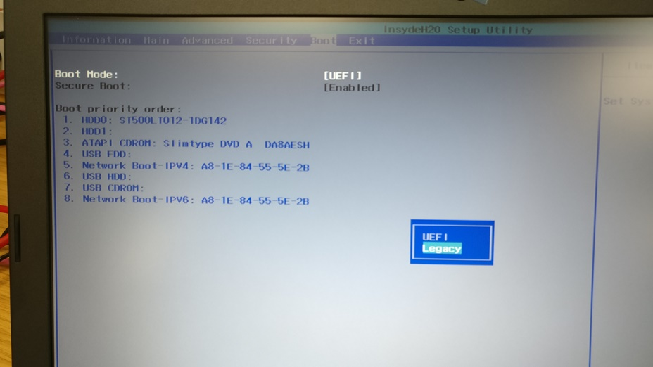 UEFI PXE boot Acer laptop not working?