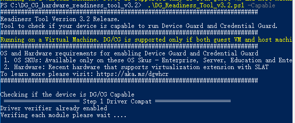 Device Guard and Credential Guard hardware readiness tool causing
