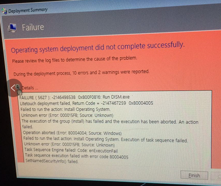 Task sequence execution failed with error code 80004005